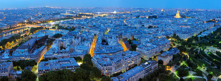 Panorama de nuit de Paris Photographie stock libre de droits