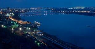 Panorama de nuit de Perm Photographie stock