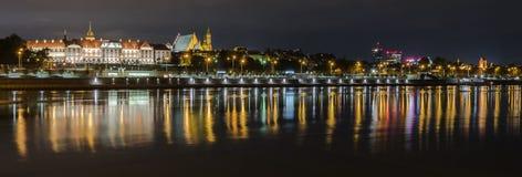 Panorama de nuit de Varsovie photographie stock