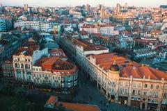Panorama de Oporto de la torre de Clerigos Imagen de archivo libre de regalías