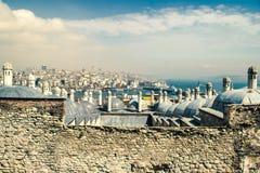 Panorama de oro del cuerno, de Bosphorus y de Galata fotografía de archivo