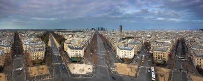 Panorama de París de Arch de Triumph Imagenes de archivo