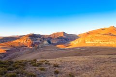 Panorama de parc national de montagnes de Golden Gate, Afrique du Sud photos libres de droits