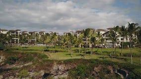 Panorama de parc de paume près du montage kapalua de station de vacances le plus célèbre sur le rivage sous le ciel avec des nuag clips vidéos