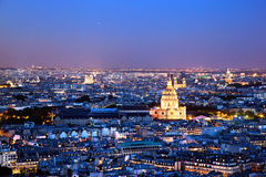 Panorama de Paris, France na noite. Fotografia de Stock Royalty Free