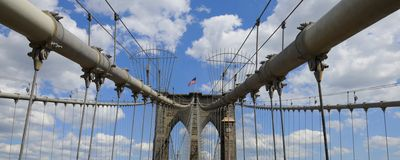 Panorama de passerelle de Brooklyn Photographie stock
