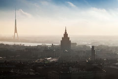 Panorama de paysage urbain de Riga Photographie stock