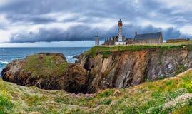 Panorama de phare et ruine de monastère, Pointe de Saint Ma Image libre de droits
