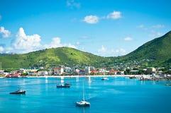 Panorama de Philipsburg, St Martin, Caraïbes Images stock