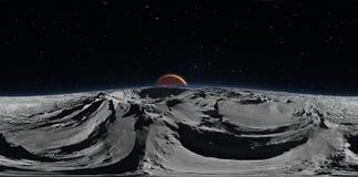 Panorama de Phobos com o planeta vermelho Marte no fundo, mapa do ambiente HDRI Projeção de Equirectangular Foto de Stock