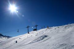 Panorama de piste de ski Images libres de droits