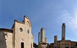 Panorama de place de San Gimignano Images libres de droits
