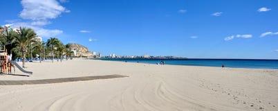 Panorama de plage d'Alicante Images stock
