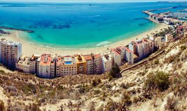 Panorama de plage d'Alicante Photographie stock libre de droits