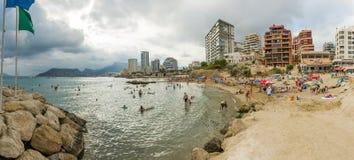 Panorama de plage de baie de Calpe Photos libres de droits