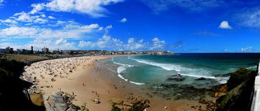 Panorama de plage de Bondi Photo stock