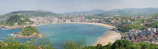 Panorama de plage de Donosti Photo stock