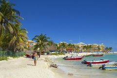Panorama de plage de Playa del Carmen, Mexique Image stock