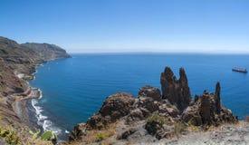 Panorama de plage Las Teresitas, Ténérife, Îles Canaries, Espagne Images stock