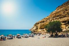 Panorama de plage de Matala Photo libre de droits