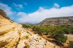 Panorama de plage de Matala Image libre de droits