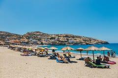 Panorama de plage de Matala Photographie stock
