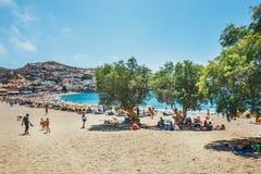 Panorama de plage de Matala Image stock