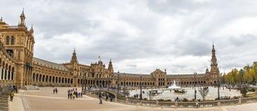 Panorama de Plaza de Espana en Séville, Andalousie, Espagne Photos stock