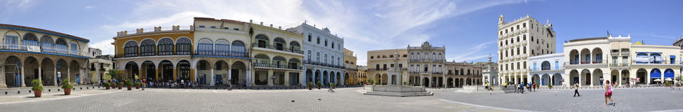 Panorama de plaza Vieja, La Havane Photos libres de droits