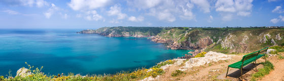 Panorama de point d'Icart, Guernesey photographie stock