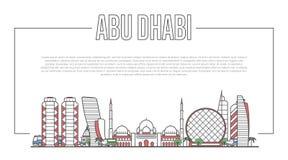 Panorama de point de repère d'Abu Dhabi dans le style linéaire Illustration Stock
