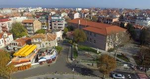 Panorama de Pomorie viejo en Bulgaria almacen de video