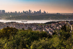 Panorama de pont d'Istanbul et de Bosphorus, Istanbul, Turquie Photo stock