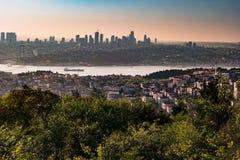 Panorama de pont d'Istanbul et de Bosphorus, Istanbul, Turquie Image libre de droits
