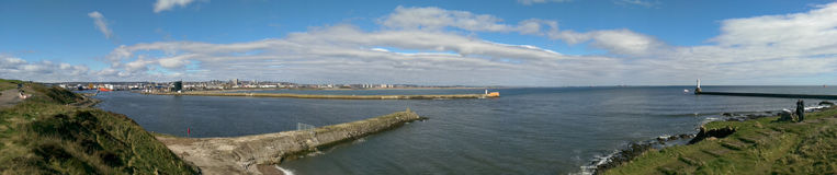 Panorama de port d'Aberdeen Images stock