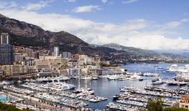 Panorama de port de marina de Monte Carlo Images libres de droits