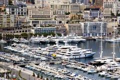 Panorama de port de marina de Monte Carlo Images stock