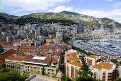 Panorama de port de marina de Monte Carlo Photographie stock libre de droits