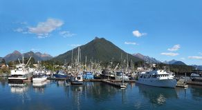 Panorama de port de Sitka Alaska photographie stock libre de droits