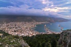 Panorama de Pothia, comme vu du monastère d'AgioS Savvas Photos stock
