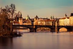 Panorama de Prague au coucher du soleil photo libre de droits