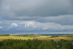 Panorama de pueblos, distrito de Sergiev Posad, región de Moscú, Rusia Imagen de archivo