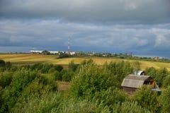 Panorama de pueblos, distrito de Sergiev Posad, región de Moscú, Rusia Foto de archivo libre de regalías
