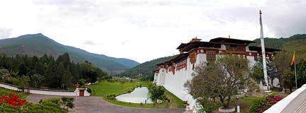 Panorama de Punakha Dzong Foto de Stock Royalty Free