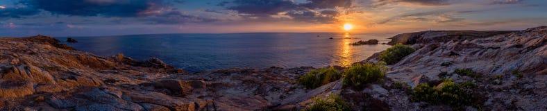 Panorama de Quiberon en la puesta del sol fotos de archivo libres de regalías