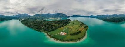Panorama de réalité virtuelle de vr du bourdon 360 d'air de nature de lac bavaria de l'Allemagne photographie stock