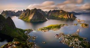 Panorama de Reinefjorden Fotografia de Stock Royalty Free