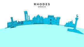 Panorama de Rhodes Greece illustration tirée par la main de vecteur illustration stock