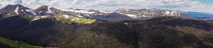 Panorama de Rocky Mountains Curso a Rocky Mountain National Park Colorado, Estados Unidos fotografia de stock royalty free