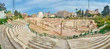 Panorama de Roman Amphitheatre em Alexandria, Egito imagens de stock royalty free